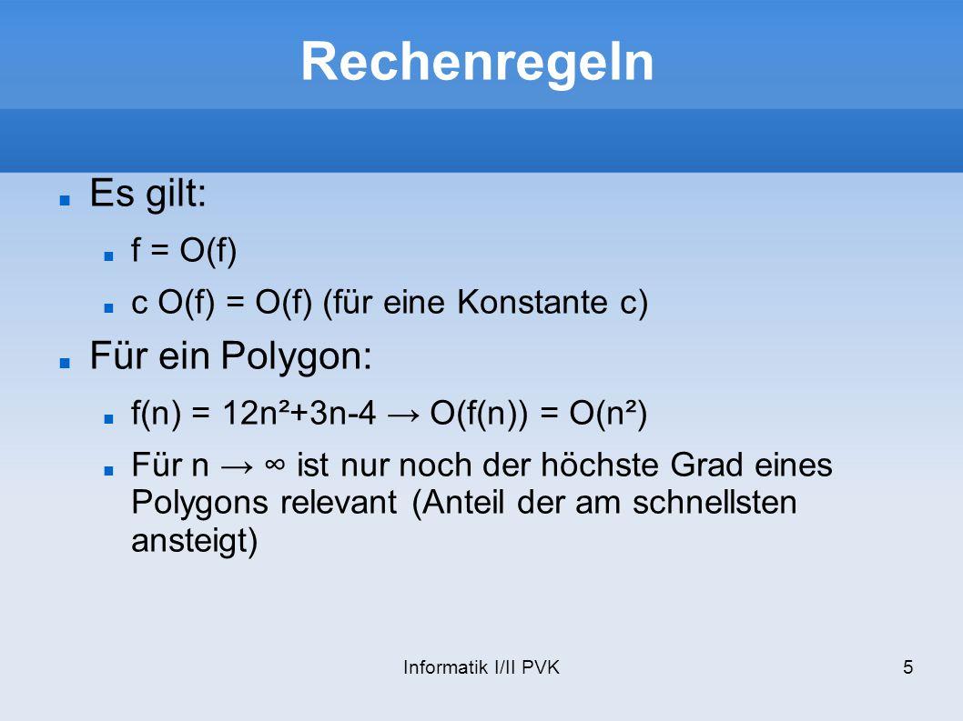 Informatik I/II PVK16 Das Zeichen & Bei C++ hat das Zeichen & 4 Bedeutungen Bitweises UND: & Boolsches UND: && Referenz: void func(MyClass& myObject ) { myObject.method(); } Adressoperator: int i = 5; int* p = &i; int** pp = &p;