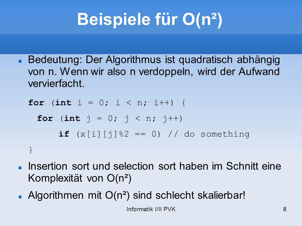 Informatik I/II PVK8 Beispiele für O(n²) Bedeutung: Der Algorithmus ist quadratisch abhängig von n. Wenn wir also n verdoppeln, wird der Aufwand vervi
