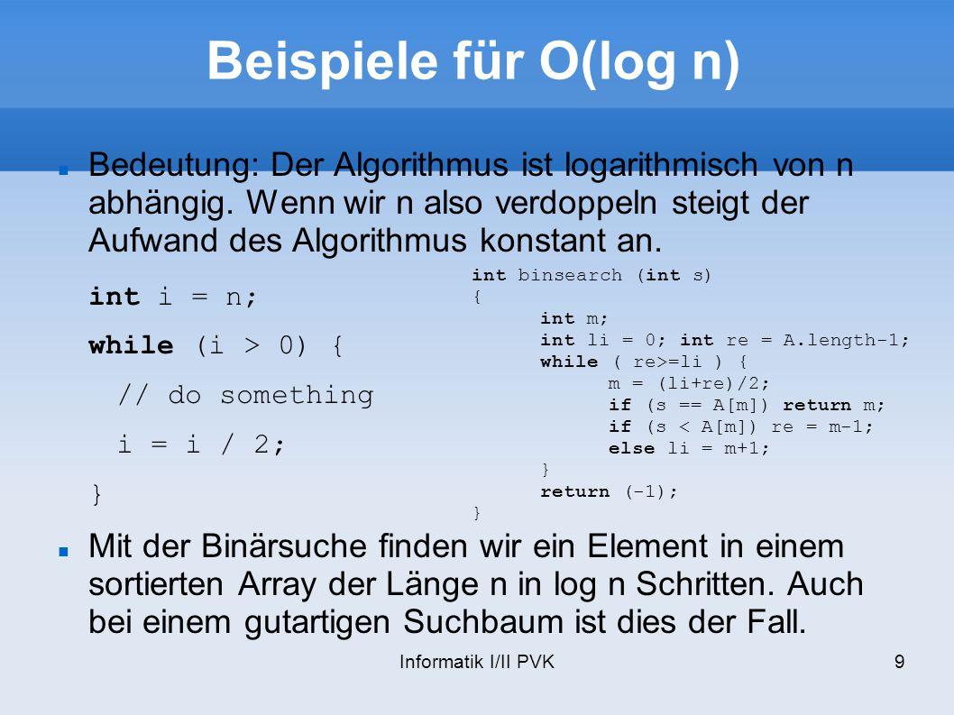 Informatik I/II PVK9 Beispiele für O(log n) Bedeutung: Der Algorithmus ist logarithmisch von n abhängig. Wenn wir n also verdoppeln steigt der Aufwand