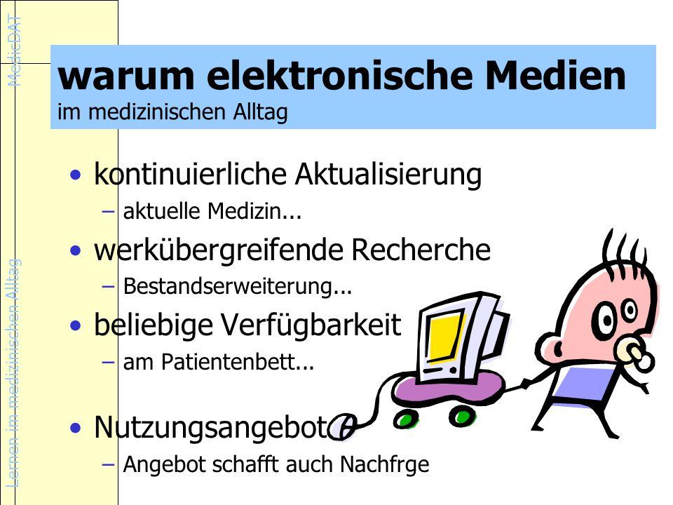 Lernen im medizinischen Alltag MedicDAT warum elektronische Medien im medizinischen Alltag kontinuierliche Aktualisierung –aktuelle Medizin...