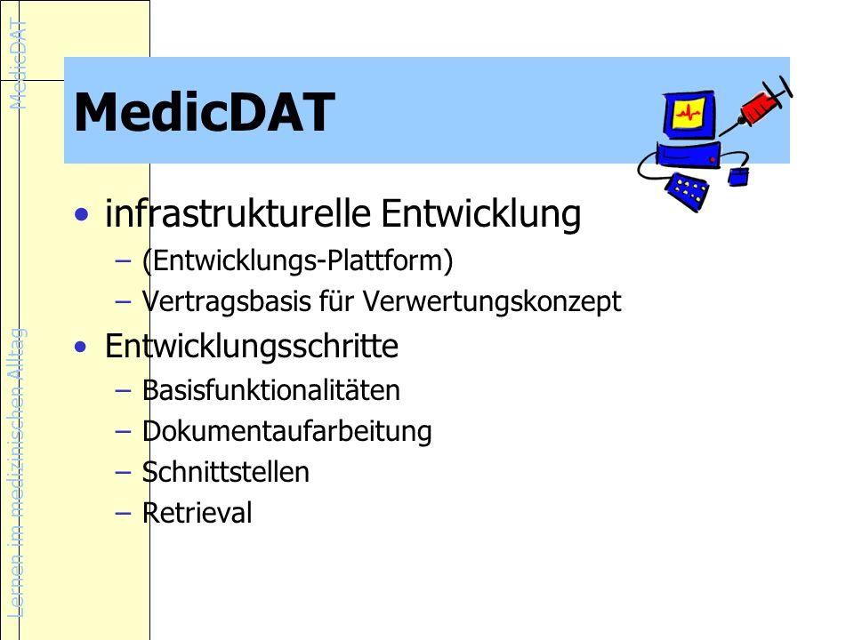 Lernen im medizinischen Alltag MedicDAT infrastrukturelle Entwicklung –(Entwicklungs-Plattform) –Vertragsbasis für Verwertungskonzept Entwicklungsschritte –Basisfunktionalitäten –Dokumentaufarbeitung –Schnittstellen –Retrieval