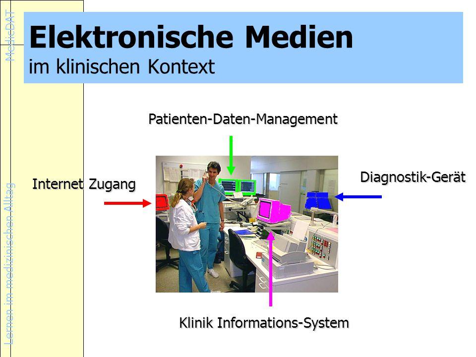 Lernen im medizinischen Alltag MedicDAT Elektronische Medien im klinischen Kontext Internet Zugang Patienten-Daten-Management Klinik Informations-System Diagnostik-Gerät