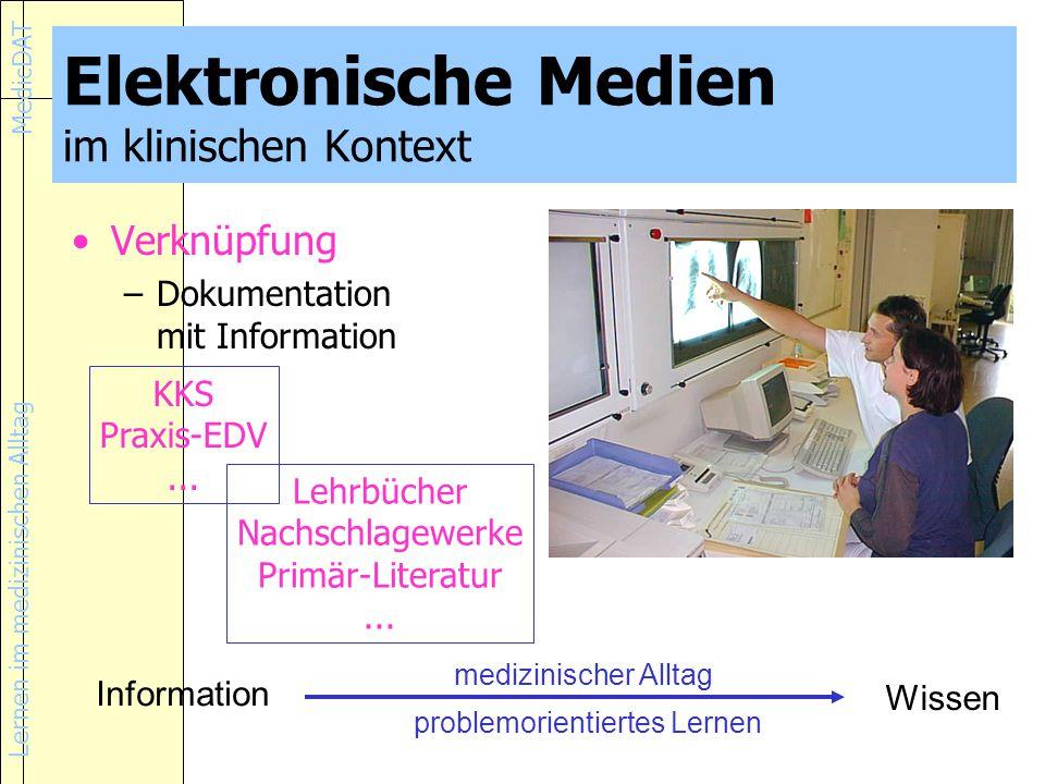 Lernen im medizinischen Alltag MedicDAT Elektronische Medien im klinischen Kontext Verknüpfung –Dokumentation mit Information KKS Praxis-EDV...