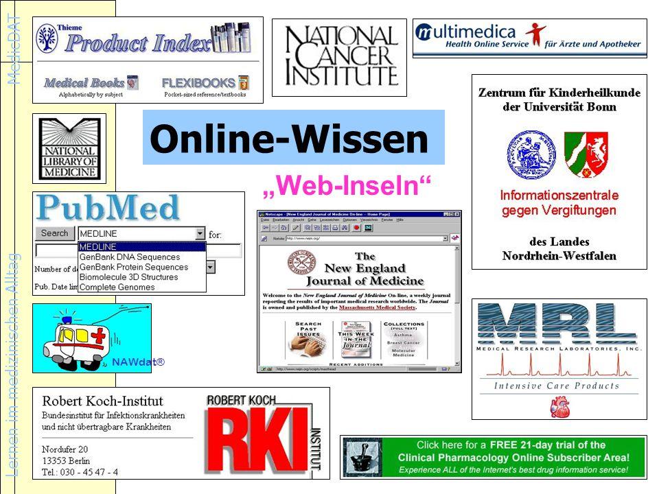 Lernen im medizinischen Alltag MedicDAT NAWdat® Web-Inseln Online-Wissen