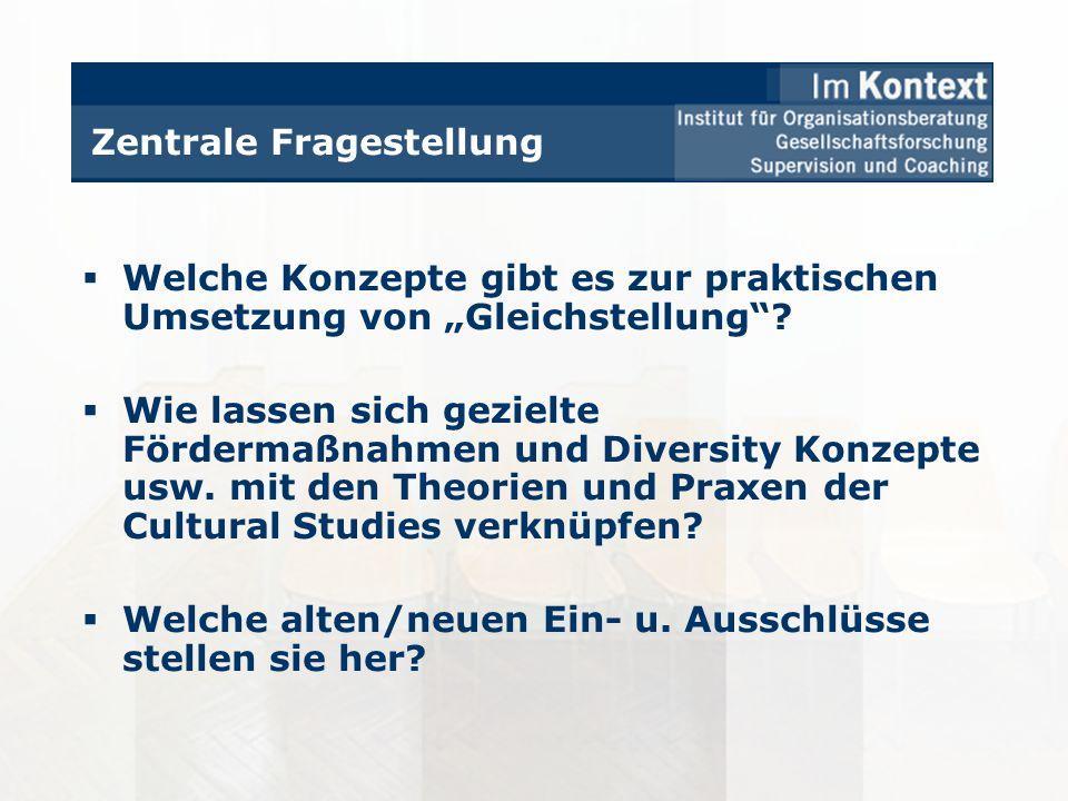 Zentrale Fragestellung Welche Konzepte gibt es zur praktischen Umsetzung von Gleichstellung? Wie lassen sich gezielte Fördermaßnahmen und Diversity Ko