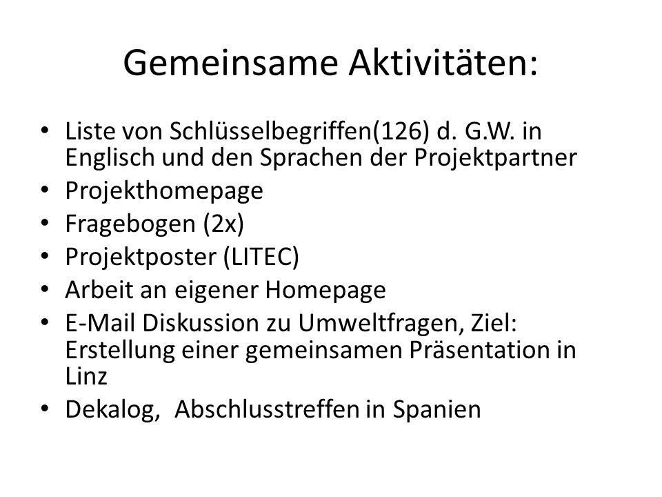 Gemeinsame Aktivitäten: Liste von Schlüsselbegriffen(126) d. G.W. in Englisch und den Sprachen der Projektpartner Projekthomepage Fragebogen (2x) Proj
