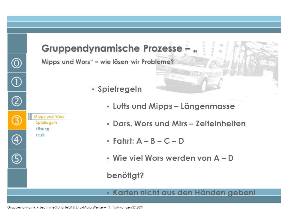 Gruppendynamik - Jeannine Schönfeldt & Eva-Maria Weisser – FH Furtwangen SS 2001 Mipps und Wors Spielregeln Lösung Fazit Gruppendynamische Prozesse –