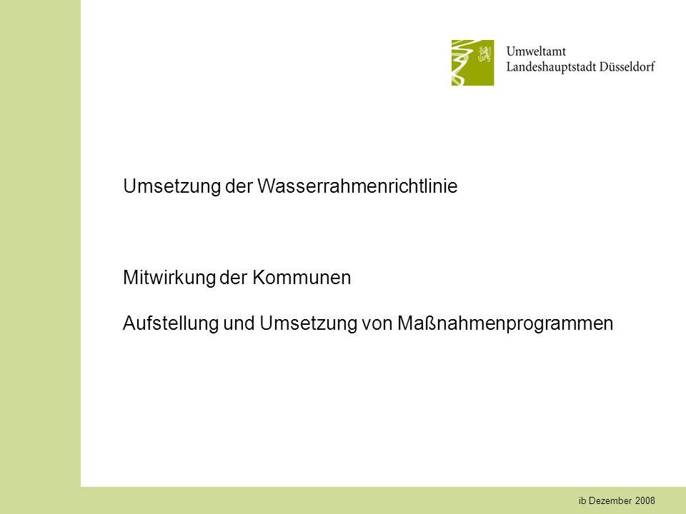 ib Dezember 2008 Umsetzung der Wasserrahmenrichtlinie Mitwirkung der Kommunen Aufstellung und Umsetzung von Maßnahmenprogrammen