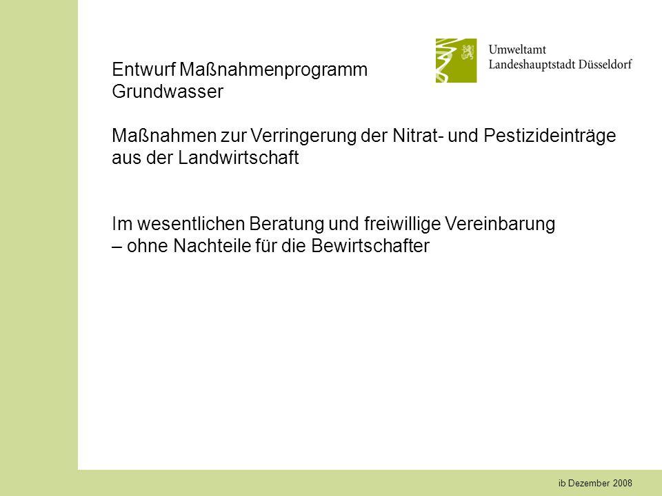 ib Dezember 2008 Entwurf Maßnahmenprogramm Grundwasser Maßnahmen zur Verringerung der Nitrat- und Pestizideinträge aus der Landwirtschaft Im wesentlichen Beratung und freiwillige Vereinbarung – ohne Nachteile für die Bewirtschafter