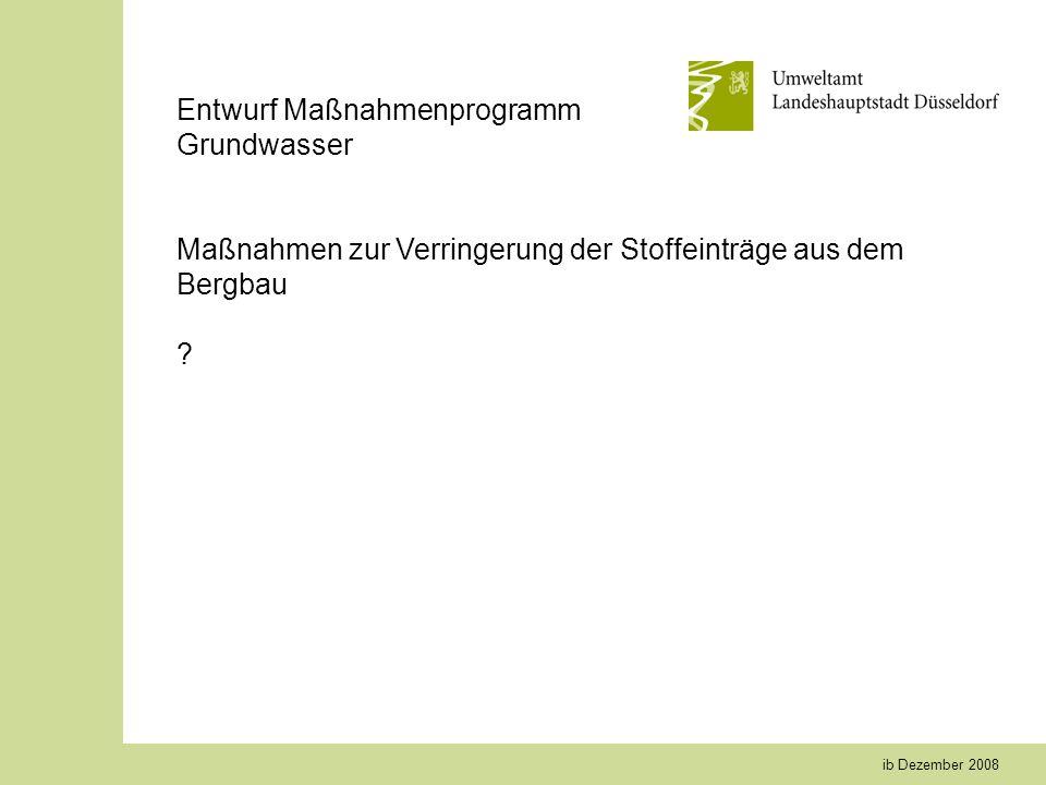 ib Dezember 2008 Entwurf Maßnahmenprogramm Grundwasser Maßnahmen zur Verringerung der Stoffeinträge aus dem Bergbau ?