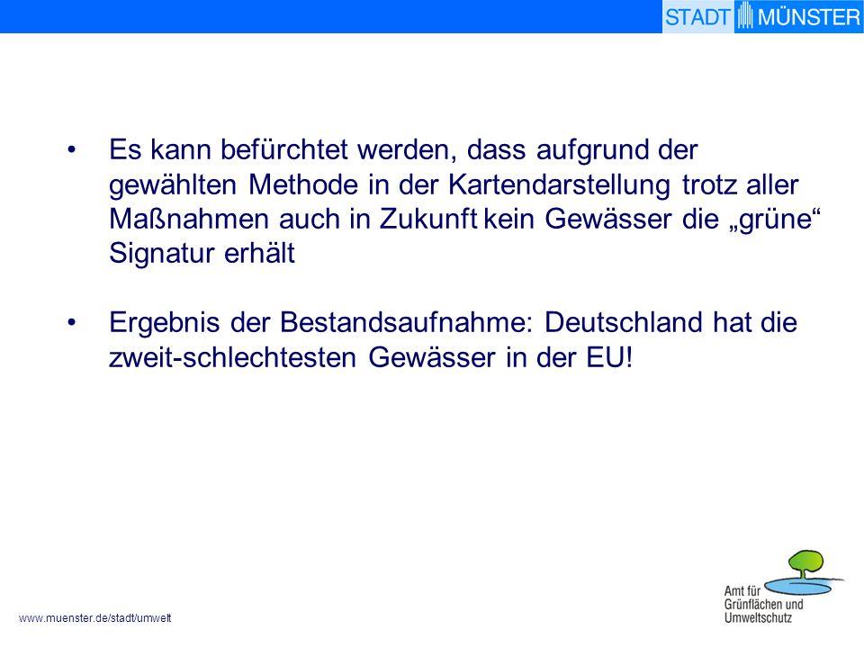 www.muenster.de/stadt/umwelt Es kann befürchtet werden, dass aufgrund der gewählten Methode in der Kartendarstellung trotz aller Maßnahmen auch in Zukunft kein Gewässer die grüne Signatur erhält Ergebnis der Bestandsaufnahme: Deutschland hat die zweit-schlechtesten Gewässer in der EU!