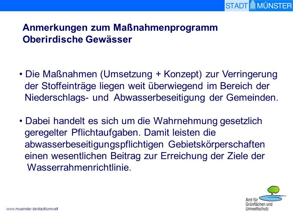 www.muenster.de/stadt/umwelt Die Maßnahmen (Umsetzung + Konzept) zur Verringerung der Stoffeinträge liegen weit überwiegend im Bereich der Niederschlags- und Abwasserbeseitigung der Gemeinden.
