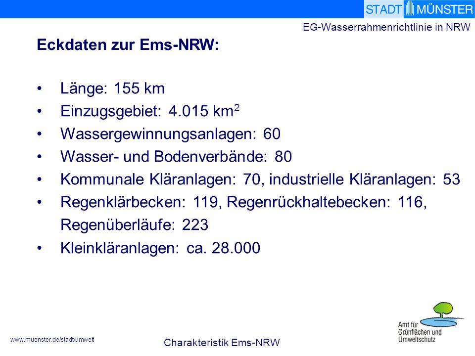 www.muenster.de/stadt/umwelt EG-Wasserrahmenrichtlinie in NRW Länge: 155 km Einzugsgebiet: 4.015 km 2 Wassergewinnungsanlagen: 60 Wasser- und Bodenverbände: 80 Kommunale Kläranlagen: 70, industrielle Kläranlagen: 53 Regenklärbecken: 119, Regenrückhaltebecken: 116, Regenüberläufe: 223 Kleinkläranlagen: ca.