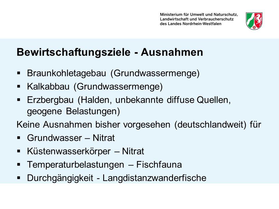 Bewirtschaftungsziele - Ausnahmen Braunkohletagebau (Grundwassermenge) Kalkabbau (Grundwassermenge) Erzbergbau (Halden, unbekannte diffuse Quellen, ge