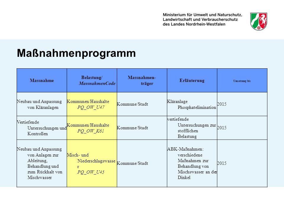 Maßnahmenprogramm Massnahme Belastung/ MassnahmenCode Massnahmen- träger Erläuterung Umsetzung bis Neubau und Anpassung von Kläranlagen Kommunen/Haush