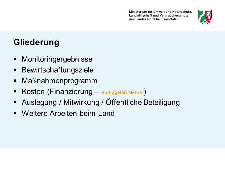 Gliederung Monitoringergebnisse Bewirtschaftungsziele Maßnahmenprogramm Kosten (Finanzierung – Vortrag Herr Menzel ) Auslegung / Mitwirkung / Öffentli
