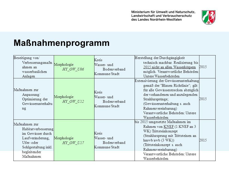 Maßnahmenprogramm Beseitigung von/ Verbesserungsmaßn ahmen an wasserbaulichen Anlagen Morphologie HY_OW_U06 Kreis Wasser- und Bodenverband Kommune/Sta
