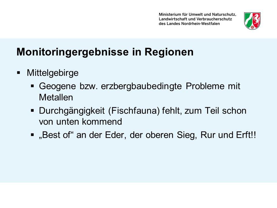 Monitoringergebnisse in Regionen Mittelgebirge Geogene bzw. erzbergbaubedingte Probleme mit Metallen Durchgängigkeit (Fischfauna) fehlt, zum Teil scho