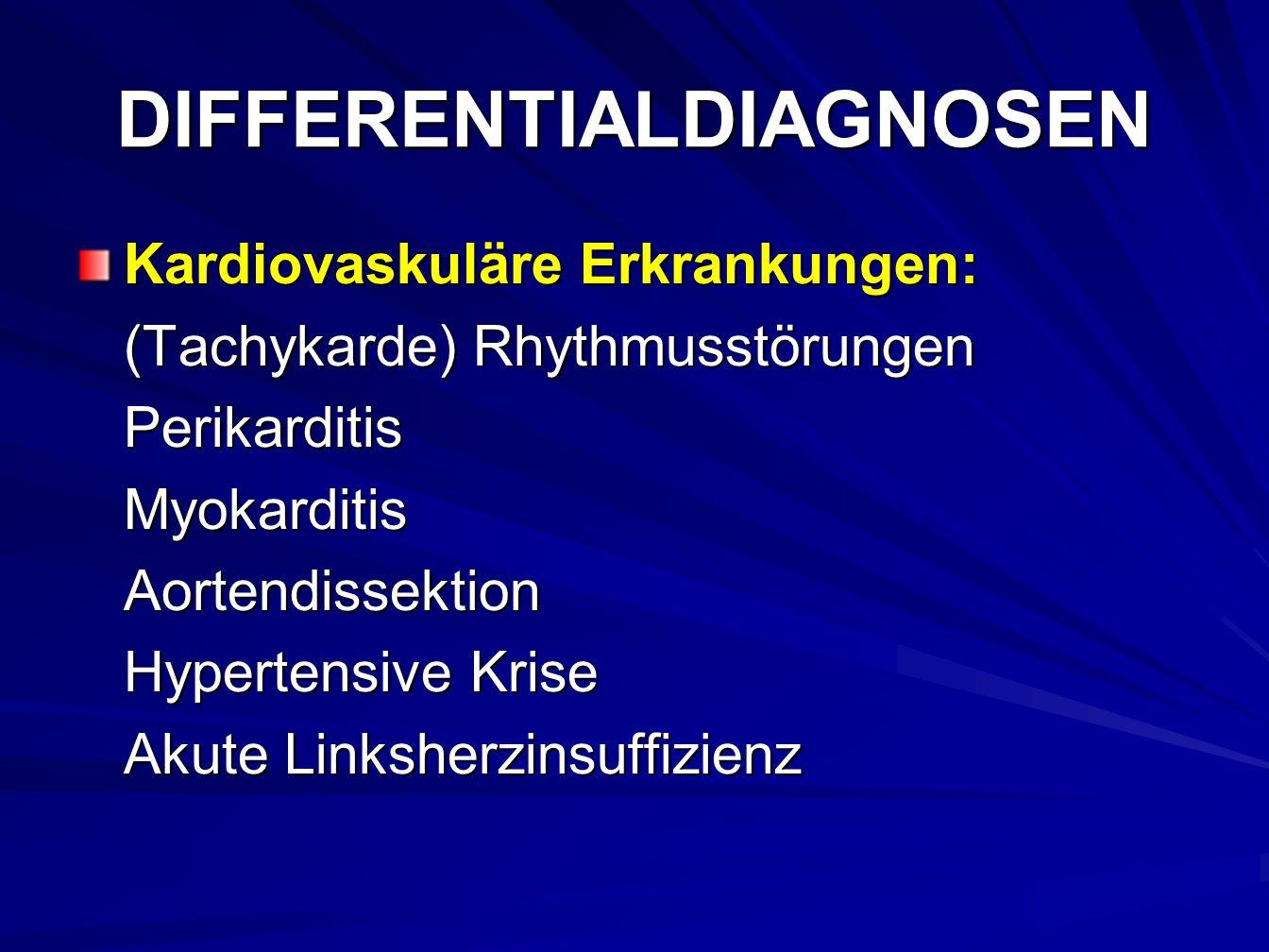 DIFFERENTIALDIAGNOSEN Kardiovaskuläre Erkrankungen: (Tachykarde) Rhythmusstörungen PerikarditisMyokarditisAortendissektion Hypertensive Krise Akute Linksherzinsuffizienz