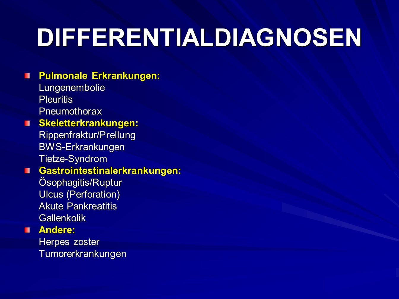 DIFFERENTIALDIAGNOSEN Pulmonale Erkrankungen: LungenemboliePleuritisPneumothoraxSkeletterkrankungen:Rippenfraktur/PrellungBWS-ErkrankungenTietze-SyndromGastrointestinalerkrankungen:Ösophagitis/Ruptur Ulcus (Perforation) Akute Pankreatitis GallenkolikAndere: Herpes zoster Tumorerkrankungen