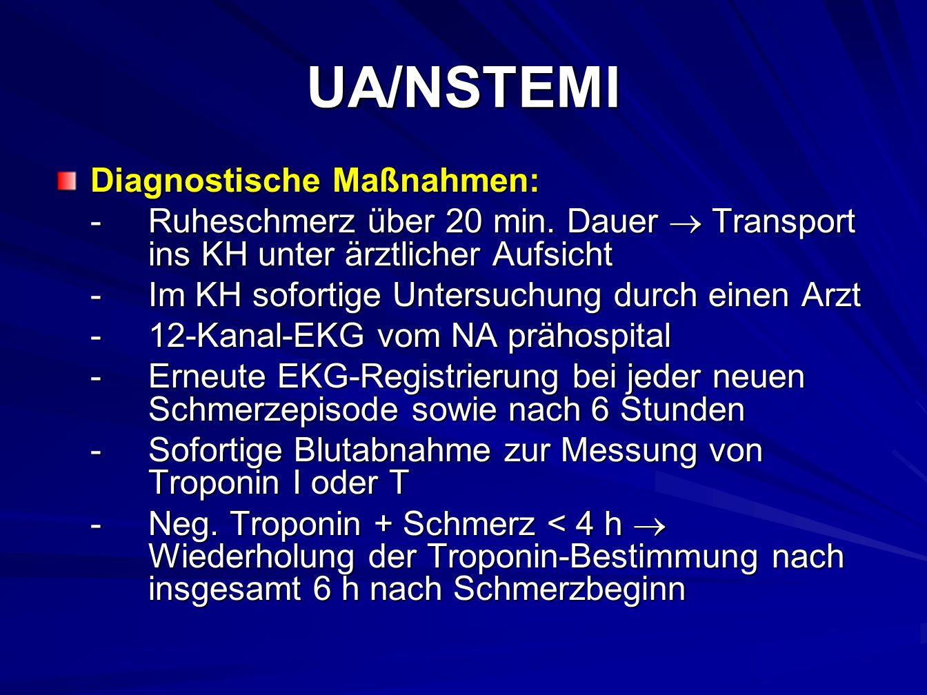 UA/NSTEMI Diagnostische Maßnahmen: -Ruheschmerz über 20 min.