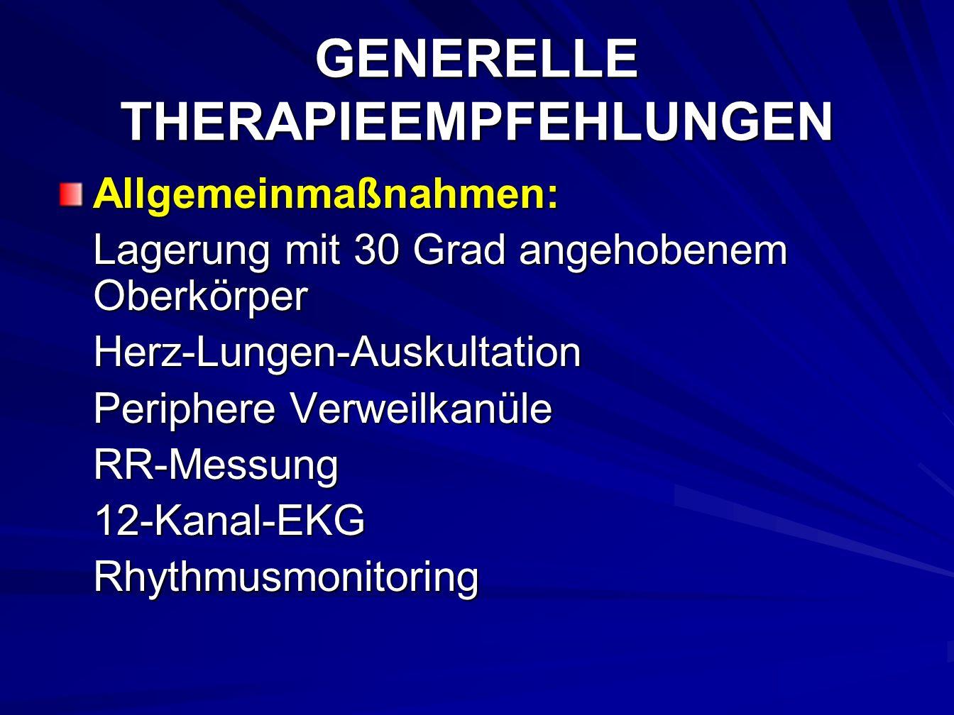 GENERELLE THERAPIEEMPFEHLUNGEN Allgemeinmaßnahmen: Lagerung mit 30 Grad angehobenem Oberkörper Herz-Lungen-Auskultation Periphere Verweilkanüle RR-Messung12-Kanal-EKGRhythmusmonitoring