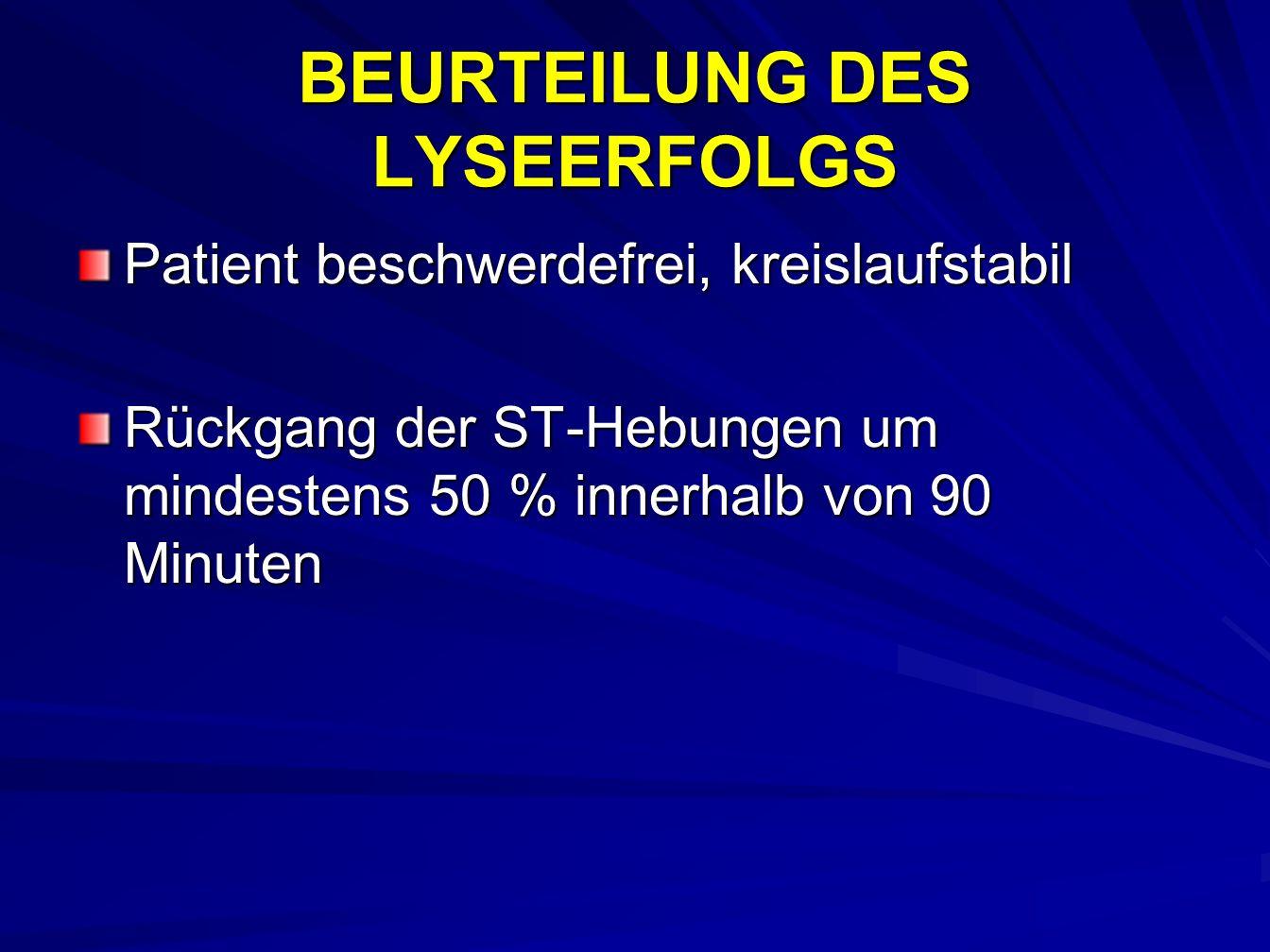 BEURTEILUNG DES LYSEERFOLGS Patient beschwerdefrei, kreislaufstabil Rückgang der ST-Hebungen um mindestens 50 % innerhalb von 90 Minuten