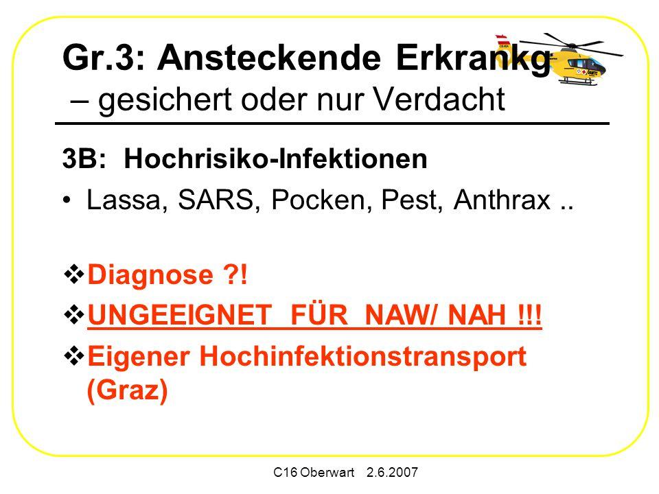 C16 Oberwart 2.6.2007 Gr.3: Ansteckende Erkrankg – gesichert oder nur Verdacht 3B: Hochrisiko-Infektionen Lassa, SARS, Pocken, Pest, Anthrax..