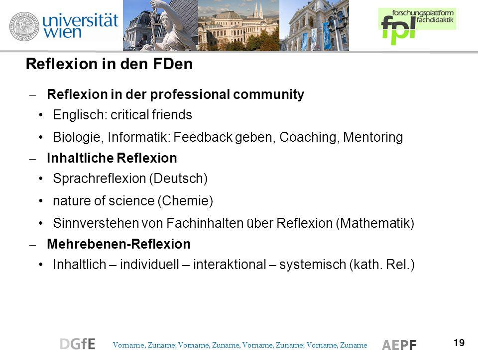 19 Vorname, Zuname; Vorname, Zuname, Vorname, Zuname; Vorname, Zuname AEPF Reflexion in den FDen Reflexion in der professional community Englisch: cri