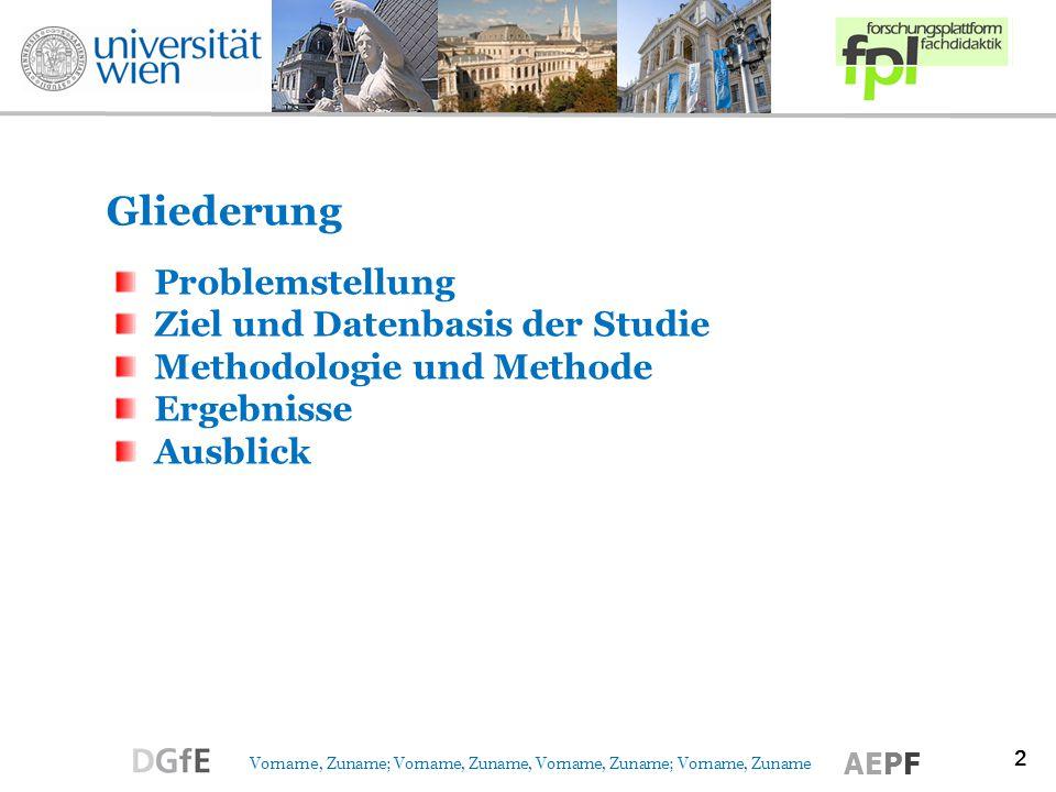 2 Vorname, Zuname; Vorname, Zuname, Vorname, Zuname; Vorname, Zuname AEPF Problemstellung Ziel und Datenbasis der Studie Methodologie und Methode Ergebnisse Ausblick Gliederung