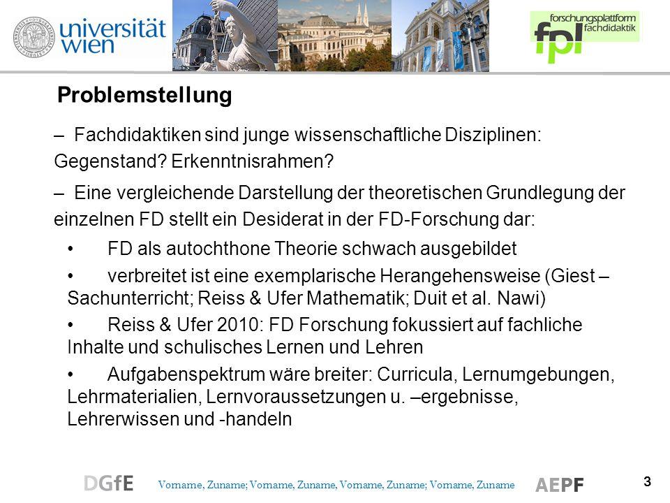 3 Vorname, Zuname; Vorname, Zuname, Vorname, Zuname; Vorname, Zuname AEPF Problemstellung –Fachdidaktiken sind junge wissenschaftliche Disziplinen: Gegenstand.