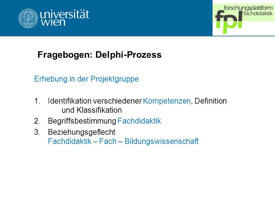 Fragebogen: Delphi-Prozess Erhebung in der Projektgruppe 1.Identifikation verschiedener Kompetenzen, Definition und Klassifikation 2.Begriffsbestimmung Fachdidaktik 3.Beziehungsgeflecht Fachdidaktik – Fach – Bildungswissenschaft