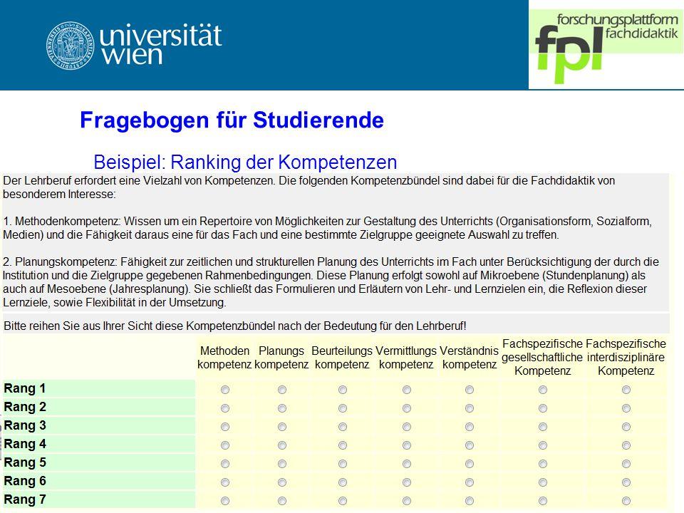 Fragebogen für Studierende Beispiel: Ranking der Kompetenzen