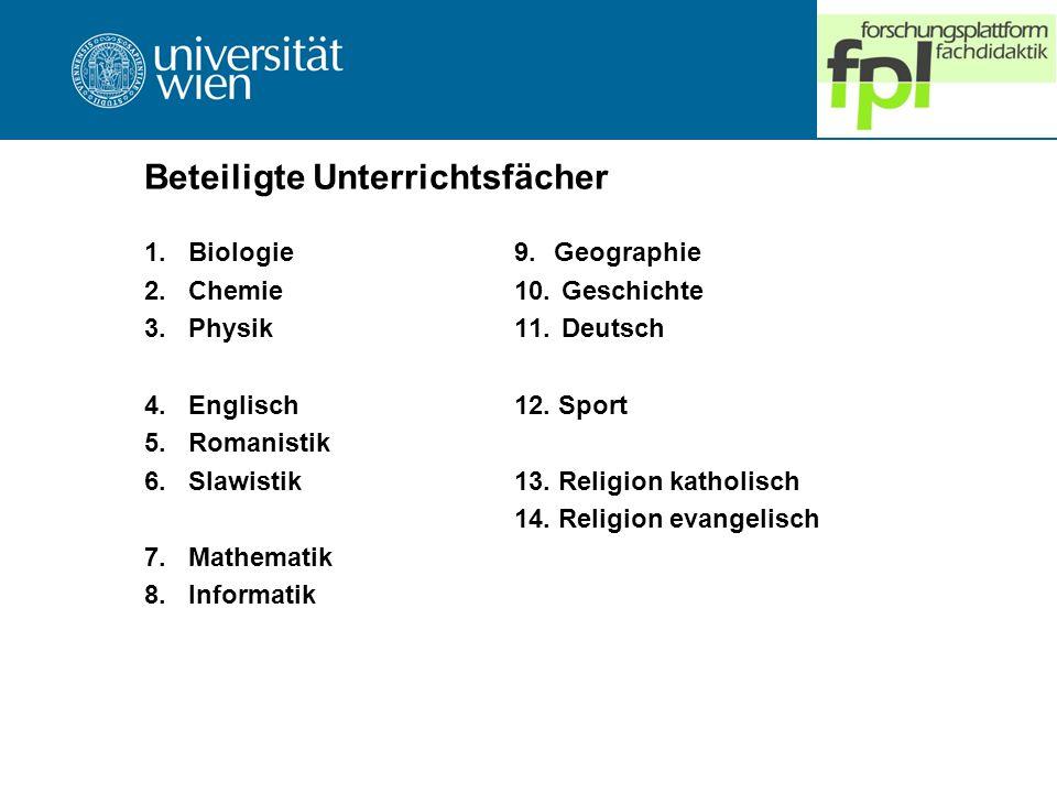 Beteiligte Unterrichtsfächer 1.Biologie 2.Chemie 3.Physik 4.Englisch 5.Romanistik 6.Slawistik 7.Mathematik 8.Informatik 9.Geographie 10.
