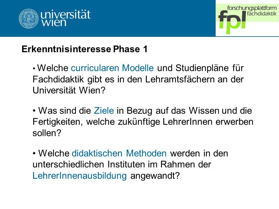 Erkenntnisinteresse Phase 1 Welche curricularen Modelle und Studienpläne für Fachdidaktik gibt es in den Lehramtsfächern an der Universität Wien.