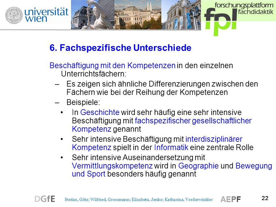22 Stefan, Götz; Wilfried, Grossmann; Elizabeta, Jenko; Katharina, Vorderwinkler AEPF 6. Fachspezifische Unterschiede Beschäftigung mit den Kompetenze