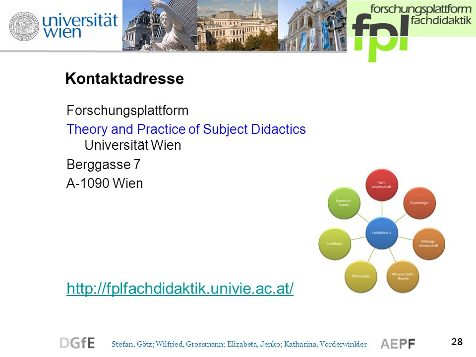 28 Stefan, Götz; Wilfried, Grossmann; Elizabeta, Jenko; Katharina, Vorderwinkler AEPF Kontaktadresse Forschungsplattform Theory and Practice of Subjec