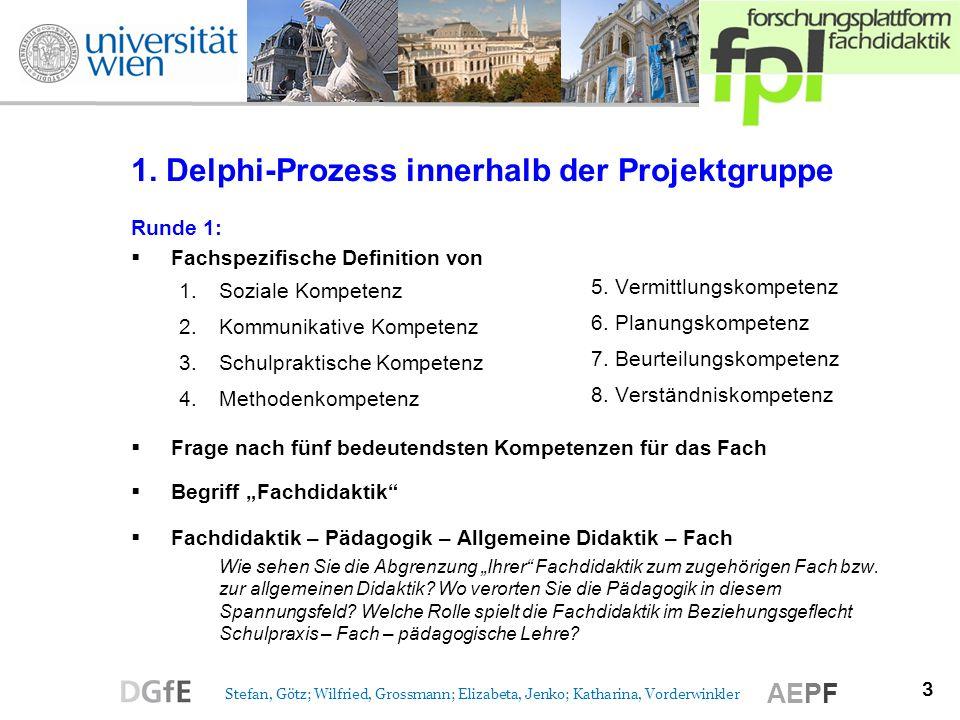 3 Stefan, Götz; Wilfried, Grossmann; Elizabeta, Jenko; Katharina, Vorderwinkler AEPF 1. Delphi-Prozess innerhalb der Projektgruppe Runde 1: Fachspezif