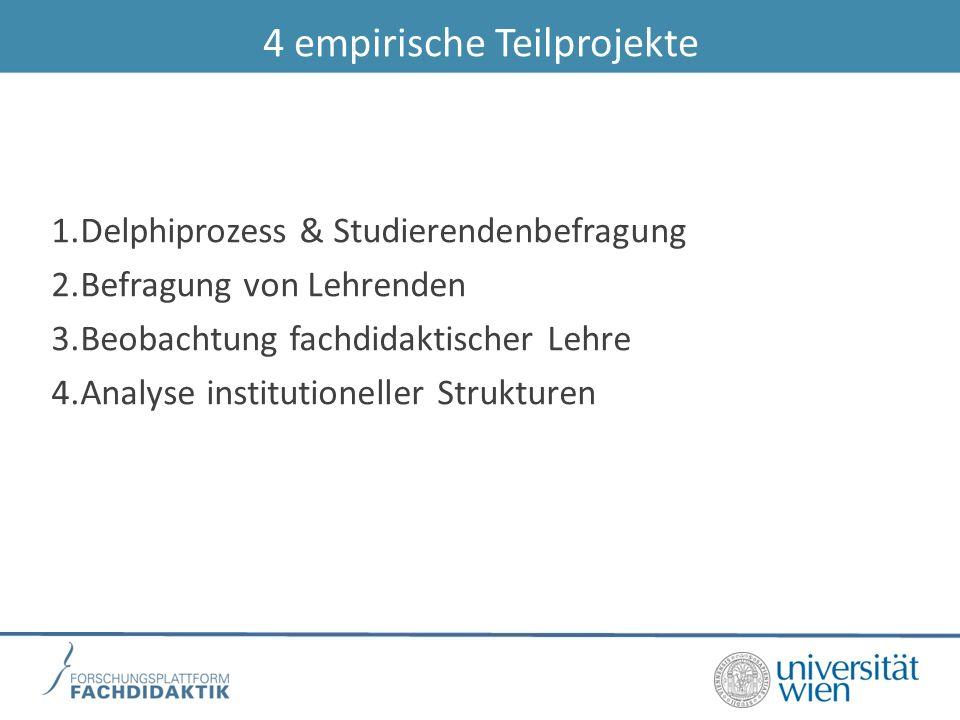4 empirische Teilprojekte 1.Delphiprozess & Studierendenbefragung 2.Befragung von Lehrenden 3.Beobachtung fachdidaktischer Lehre 4.Analyse institutioneller Strukturen