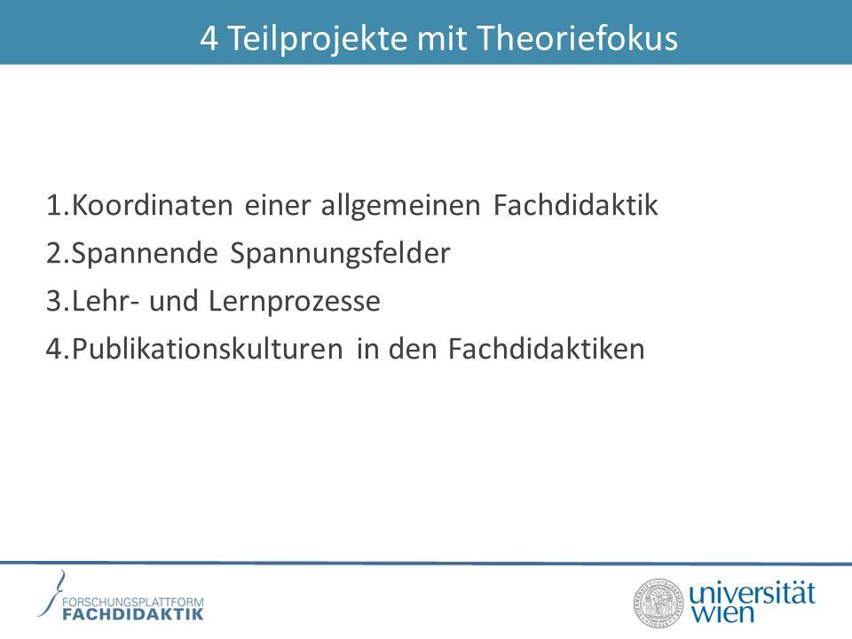 4 Teilprojekte mit Theoriefokus 1.Koordinaten einer allgemeinen Fachdidaktik 2.Spannende Spannungsfelder 3.Lehr- und Lernprozesse 4.Publikationskultur