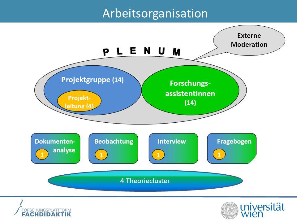 Arbeitsorganisation Externe Moderation 4 Theoriecluster