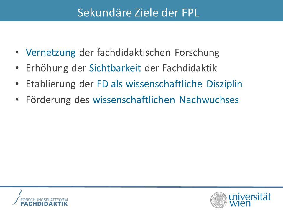 Sekundäre Ziele der FPL Vernetzung der fachdidaktischen Forschung Erhöhung der Sichtbarkeit der Fachdidaktik Etablierung der FD als wissenschaftliche