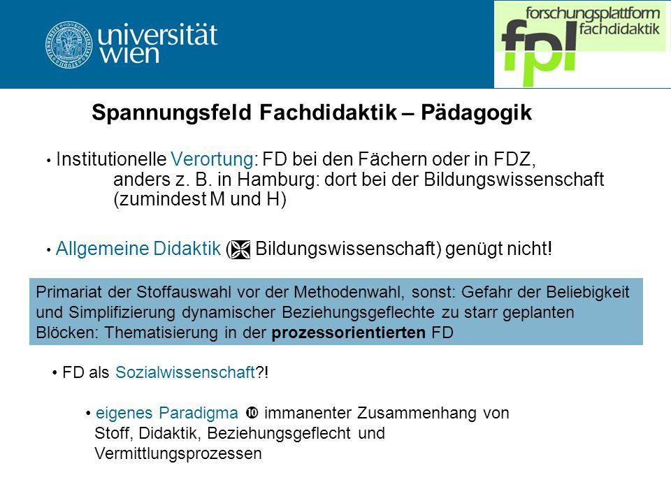 Spannungsfeld Fachdidaktik – Pädagogik Institutionelle Verortung: FD bei den Fächern oder in FDZ, anders z.