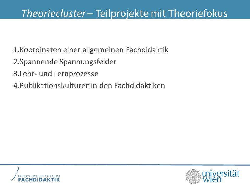 Theoriecluster – Teilprojekte mit Theoriefokus 1.Koordinaten einer allgemeinen Fachdidaktik 2.Spannende Spannungsfelder 3.Lehr- und Lernprozesse 4.Publikationskulturen in den Fachdidaktiken