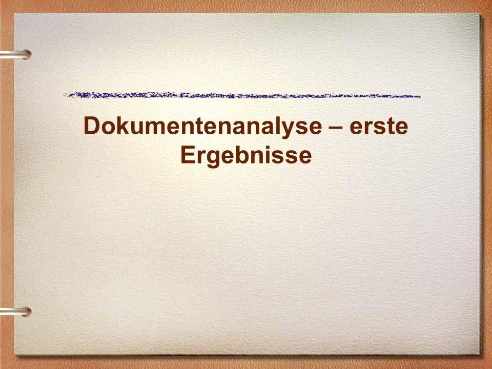 Dokumentenanalyse – erste Ergebnisse