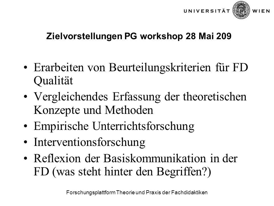 Forschungsplattform Theorie und Praxis der Fachdidaktiken Zielvorstellungen PG workshop 28 Mai 209 Erarbeiten von Beurteilungskriterien für FD Qualität Vergleichendes Erfassung der theoretischen Konzepte und Methoden Empirische Unterrichtsforschung Interventionsforschung Reflexion der Basiskommunikation in der FD (was steht hinter den Begriffen )