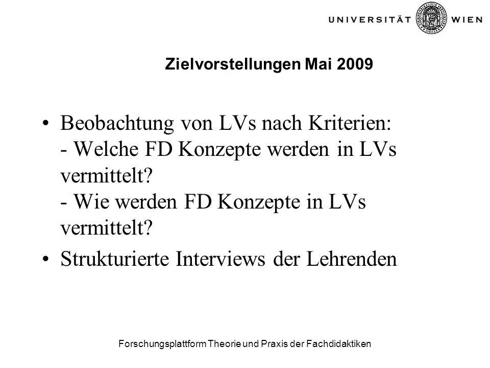 Forschungsplattform Theorie und Praxis der Fachdidaktiken Zielvorstellungen Mai 2009 Beobachtung von LVs nach Kriterien: - Welche FD Konzepte werden in LVs vermittelt.