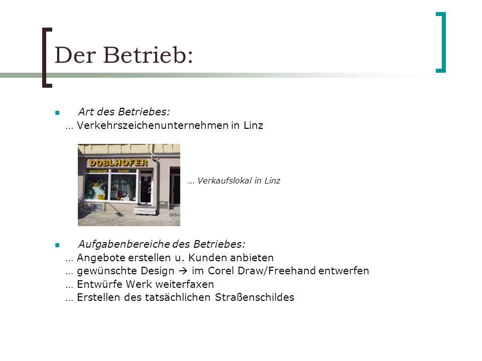 Der Betrieb: Art des Betriebes: … Verkehrszeichenunternehmen in Linz Aufgabenbereiche des Betriebes: … Angebote erstellen u. Kunden anbieten … gewünsc