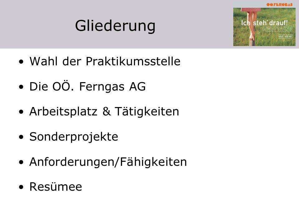 Gliederung Wahl der Praktikumsstelle Die OÖ. Ferngas AG Arbeitsplatz & Tätigkeiten Sonderprojekte Anforderungen/Fähigkeiten Resümee