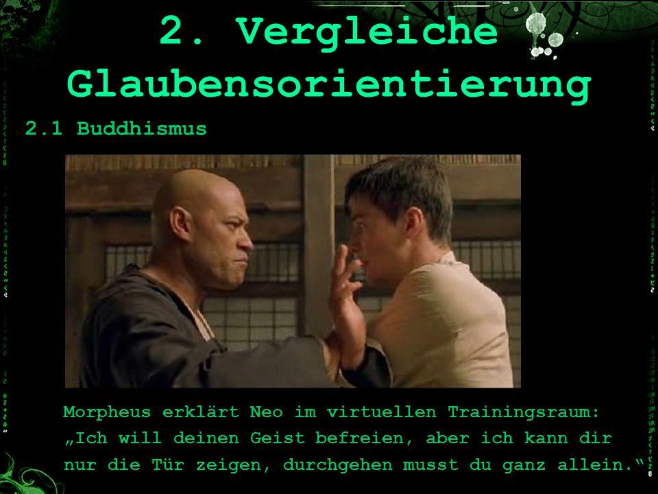 Morpheus erklärt Neo im virtuellen Trainingsraum: Ich will deinen Geist befreien, aber ich kann dir nur die Tür zeigen, durchgehen musst du ganz allei